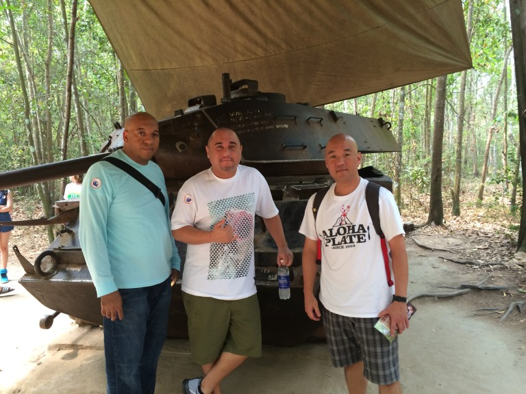 Lanai Tabrua and two friends in Vietnam
