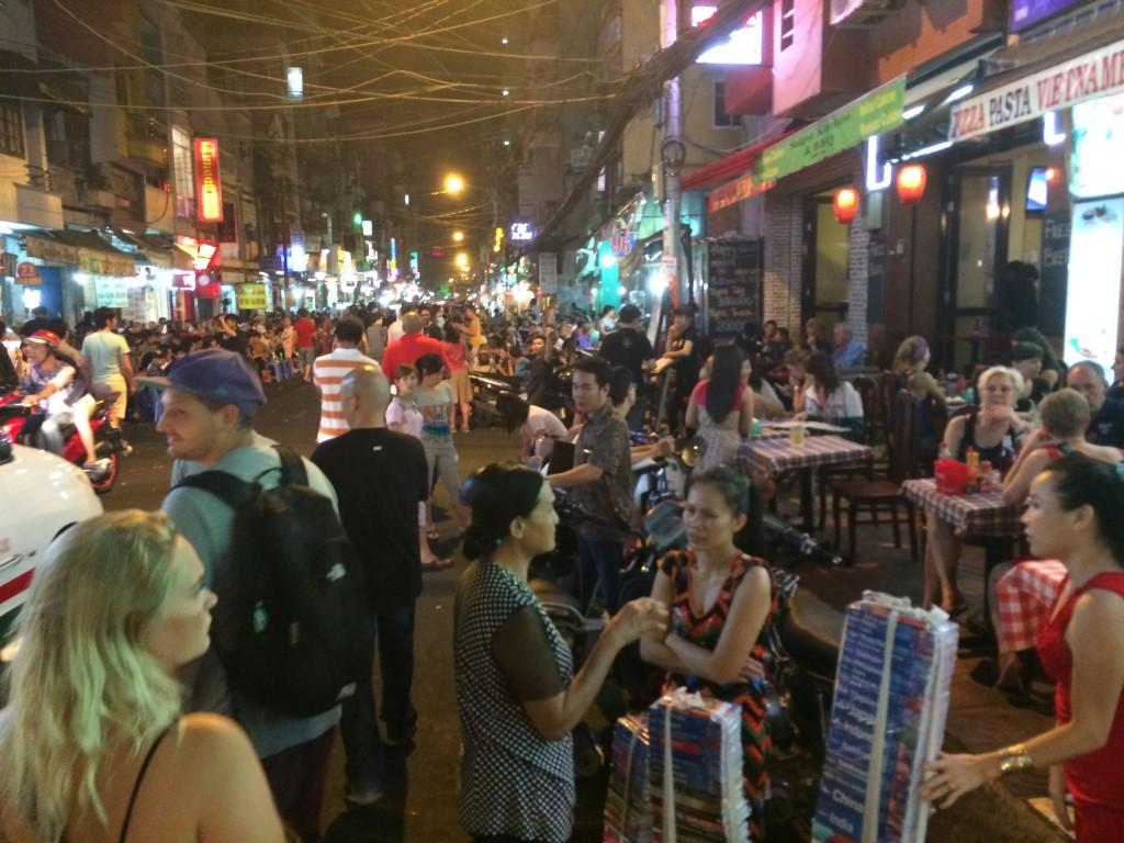Shopping district and night market in viettnam
