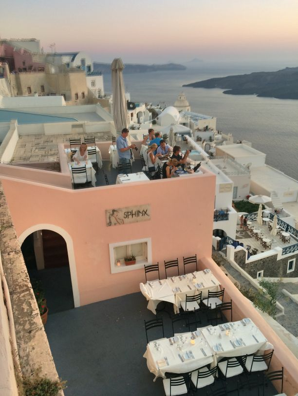 Looking down from a cliff at Sphinx restaurant in Santorini