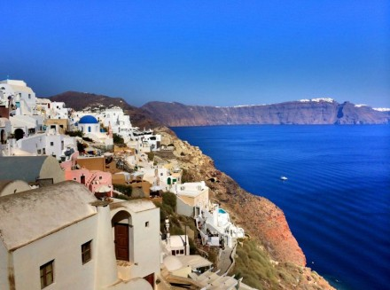 Coastal view from a cliff in Santorini