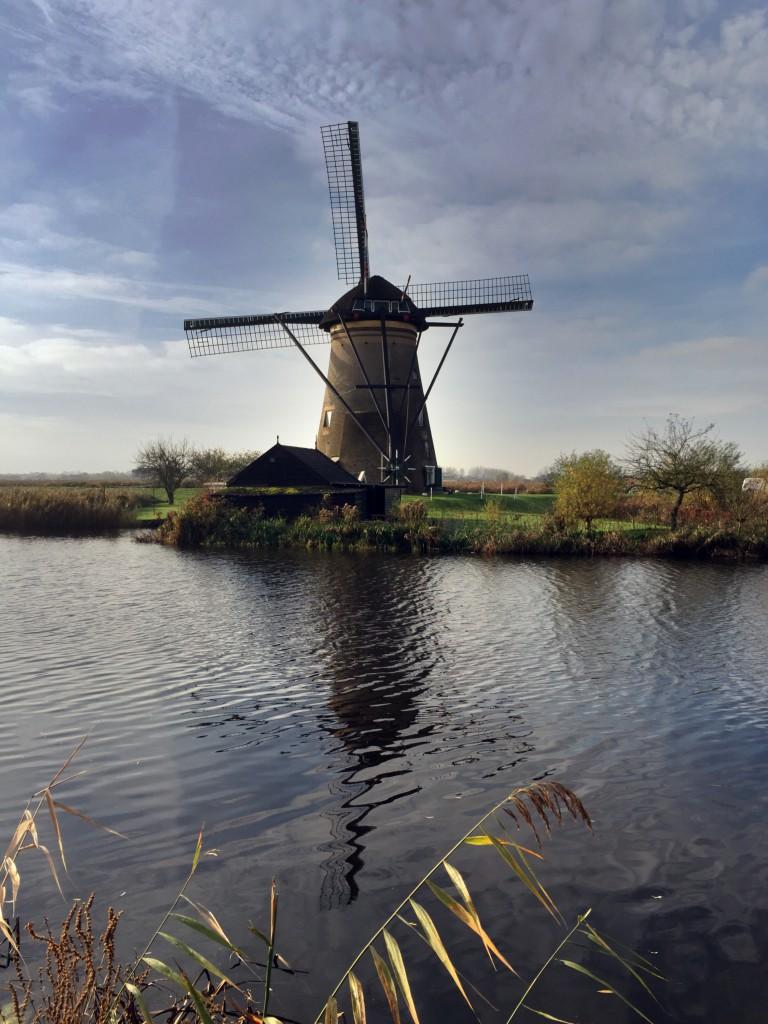 A windmill at dusk